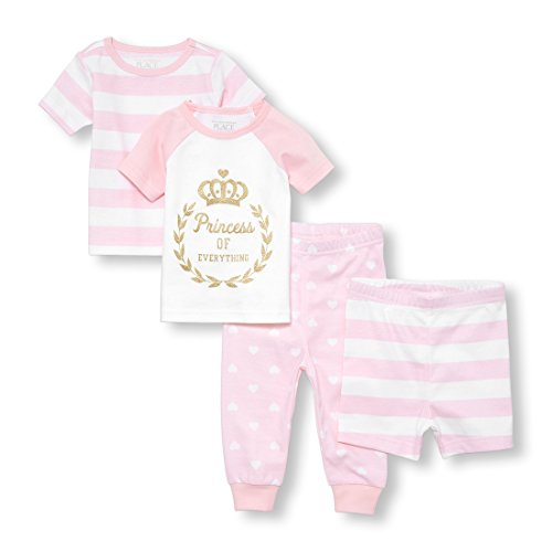 The Children's Place Big Baby Girls Top and Bottom Pajama Sets, Pink 96461, 12-18MOS