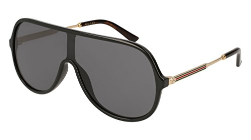 Gucci Black Plastic Shield Sunglasses Grey Lens