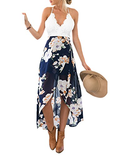 Berrygo Women's Sexy Deep V Neck Strap Backless Lace Floral Print Split Maxi Dress Hot