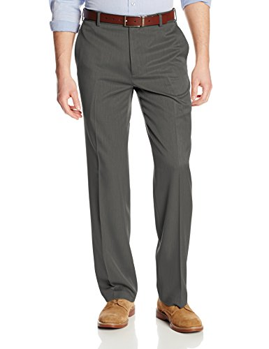 Van Heusen Men's Flat Front Ultimate Traveler Pant, Dark Charcoal, 36W x 34L
