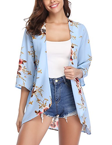 Abollria Women 3/4 Sleeve Floral Chiffon Casual Loose Kimono Cardigan Capes