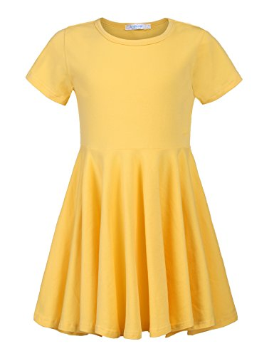 Arshiner Little Girls Short Sleeve A Line Casual Skater Dress