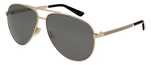 Gucci Men,Women Gold/Grey Sunglasses 61mm