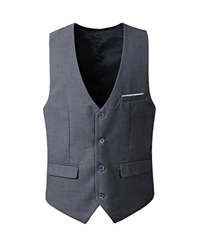 Benibos Men's Slim Fit Suit Vest (L, 305MJ-Deep Grey)