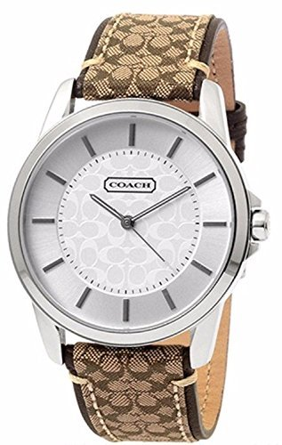 Coach Womens Classic Signature Fabric Leather Strap Oversized Watch