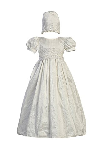 White Silk Christening Baptism Gown with Laced Bodice and Matching Hat - M (6-12 Month)