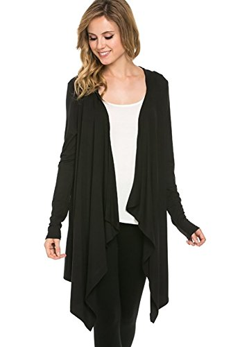 Azules Women's Hooded Cardigan, Small, Black