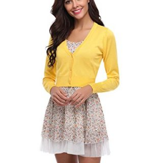 Abollria Women Solid Button Down Long Sleeve Cropped Bolero Cardigan (Yellow,S)