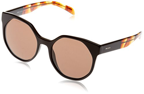 Prada Women's Black/Striped Brown/Brown Sunglasses