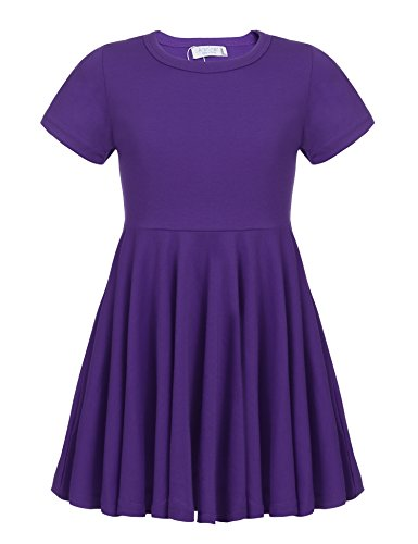 Arshiner Girls' Cotton Long Sleeve Twirly Skater Party Dress,Purple_short Sleeve,130(Age for 8-9 Y)
