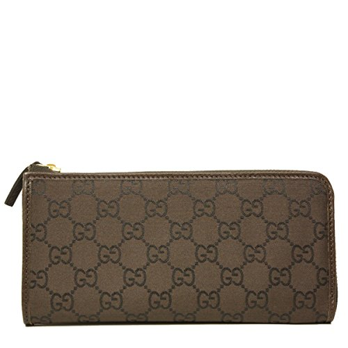 Gucci Monogram GG Logo Brown Nylon and Leather Zip Around Wallet