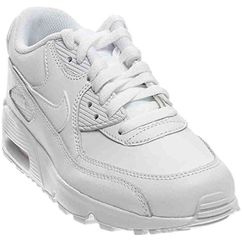 Nike Kid's Air Max 90 Leather Running Shoes, White/White, 6.5 M US Big Kid