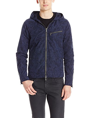 John Varvatos Men's Hooded Camo Jacket, Indigo, Large