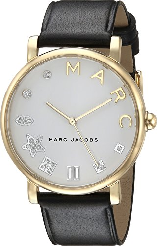 Marc Jacobs Women's 'Classic' Quartz Stainless Steel and Leather Casual Watch, Color Black