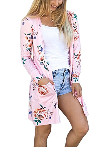 OLRAIN Women's Casual Floral Printed Long Kimono Coats Outwear Cardigan Tops Small Pink