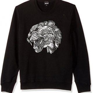 Just Cavalli Men's Side Zipper Sweatshirt, Black, S