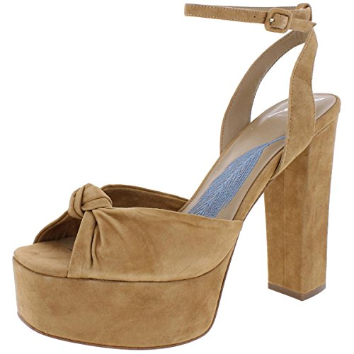 Brian Atwood B Womens Gabby Chunky Heel Platform Sandals Tan 6.5 Medium (B,M)
