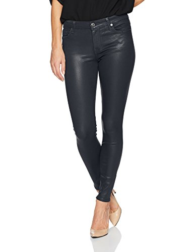 7 For All Mankind Women's Ankle Skinny Jean in Coated Color, Ink, 24
