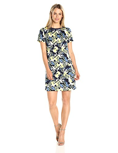A|X Armani Exchange Women's Crew Neck Short Sleeve Printed Dress, Multi, 2