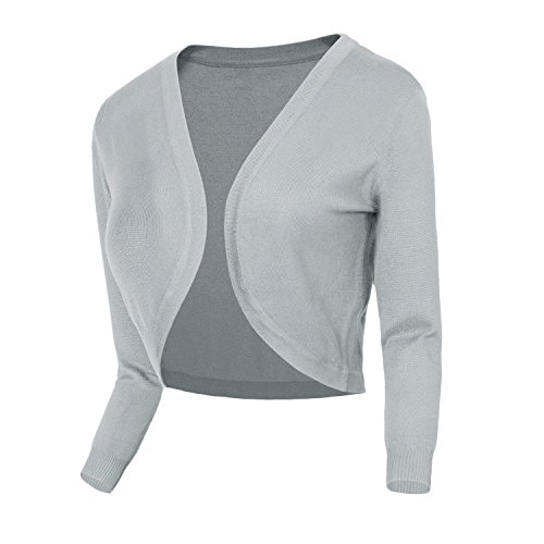 Urban CoCo Women's Cropped Cardigan V-Neck Button Down Knitted Sweater 3/4 Sleeve (#2 Light Grey, M)