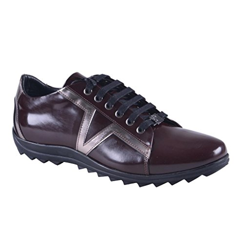 Versace Collection Men's Burgundy Leather Fashion Sneakers Shoes US 8 IT 41