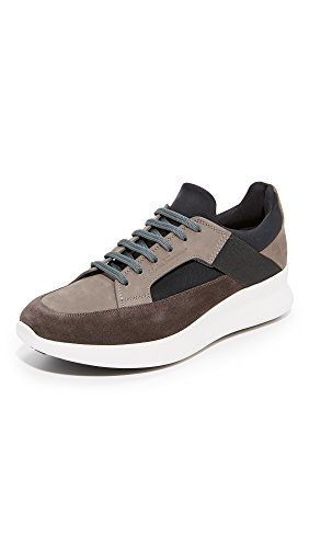 Salvatore Ferragamo Men\u0027s Duo Suede Sneakers, Grey/Grey/Black, 11 D(