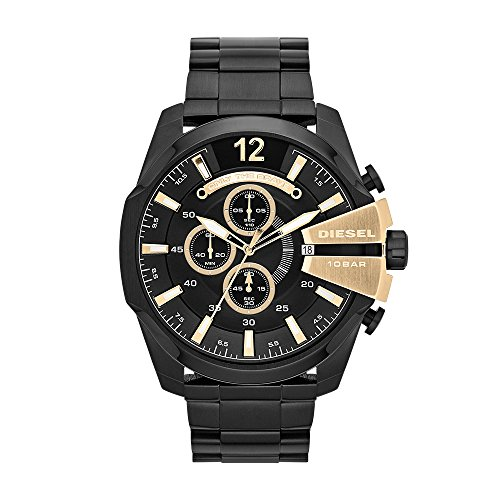Diesel Men's Mega Chief Quartz Stainless Steel Chronograph Watch, Color Black (Model: DZ4338)