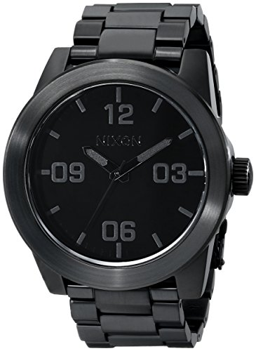Nixon Corporal SS. All Black Stainless Steel Men's Watch (48mm Black Watch Face/24mm Black Steel Band)
