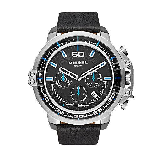 Diesel Men's Deadeye Stainless Steel Black Leather Watch
