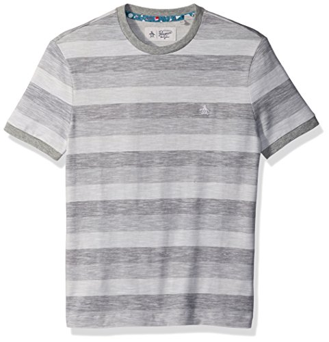 Original Penguin Men's Short Sleeve Rev Feeder Stripe Tee, Bright White, Large