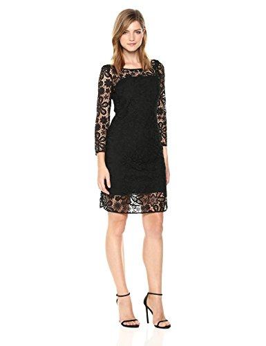 A|X Armani Exchange Women's Three-Quarter Sleeved Dress WTH Lace Overlay, Black, 6