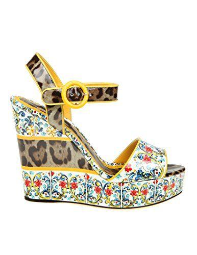 Dolce e Gabbana Women's Multicolor Leather Wedges