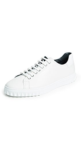 Salvatore Ferragamo Men's Cube Lace up Sneakers, White, 10.5 D(M) US