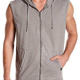 John Varvatos Men's Sleeveless Zip Front Hoodie Large Light Grey
