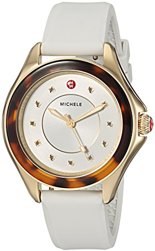Michele Women's 'Cape' Quartz Stainless Steel and Silicone Casual Watch, Color White