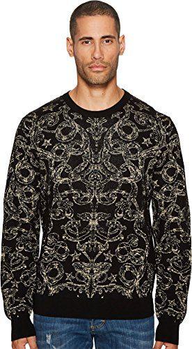 Just Cavalli Men's Baroque Sweater Black Jacquard Shirt