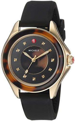 MICHELE Women's 'Cape' Quartz Stainless Steel and Silicone Casual Watch, Color Brown (Model: MWW27A000027)