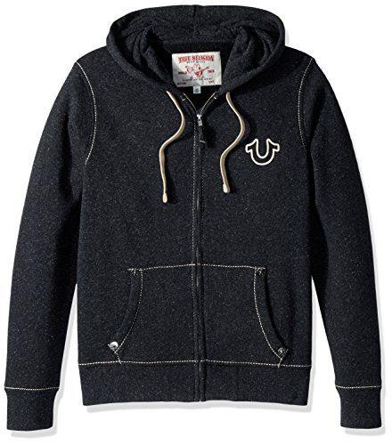 True Religion Men's Big T Basic Zip Hoodie, Black, XL