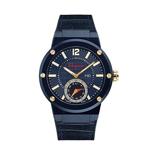 Salvatore Ferragamo Men's 'F-80' Swiss Quartz Stainless Steel and Leather Casual Watch, Color:Blue