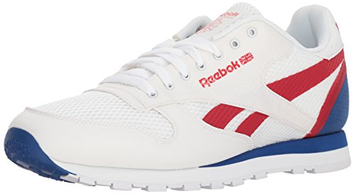 Reebok Men's Classic Leather Sneaker, White/Excellent Red/Team, 10.5 M US