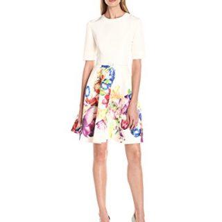 Ted Baker Women's Tutsi Tapestry Floral Full Skirt Dress, Pale Yellow, 2