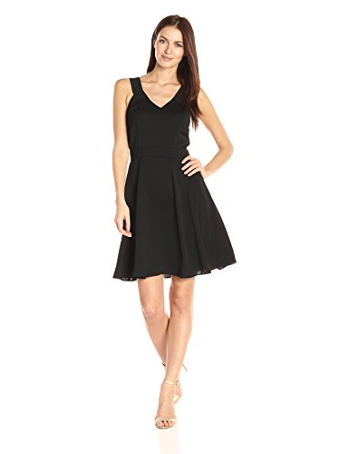 A|X Armani Exchange Women's V Neck Tank Fit and Flare Dress, Black, 6