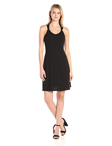 A|X Armani Exchange Women's Irregular Rib Knee Length Crossback Fit and Flare Dress, Black, Medium