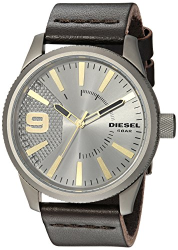 Diesel Men's RASP Gunmetal Ip and Brown Leather Watch DZ1843