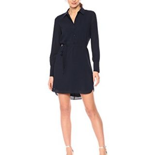 A X Armani Exchange Women's Solid Shirt Dress with Tie, Navy, 4