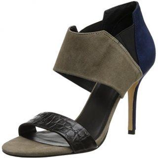 Trina Turk Women's Los Altos Dress Sandal,Slate Suede/Indigo Suede/Crocodile Black,9 M US