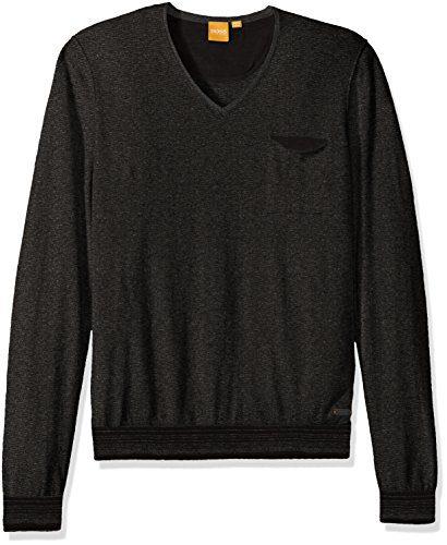 BOSS Orange Men's Kerpen Lightweight Merino Blend V-Neck Sweater, Black, Large