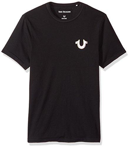 True Religion Men's Metal Horseshoe Logo Tee, True Black, XL