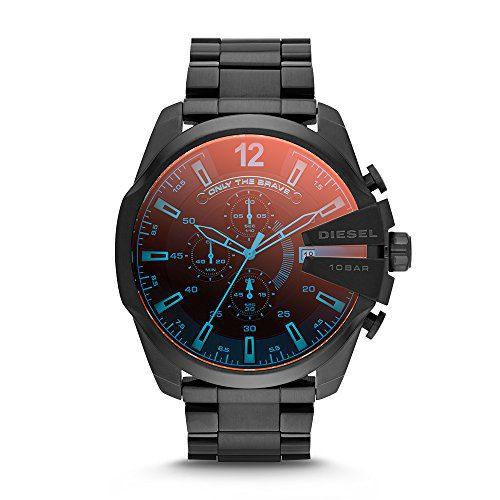 Diesel Men's Mega Chief Quartz Stainless Steel Chronograph Watch, Color Black (Model: DZ4318)