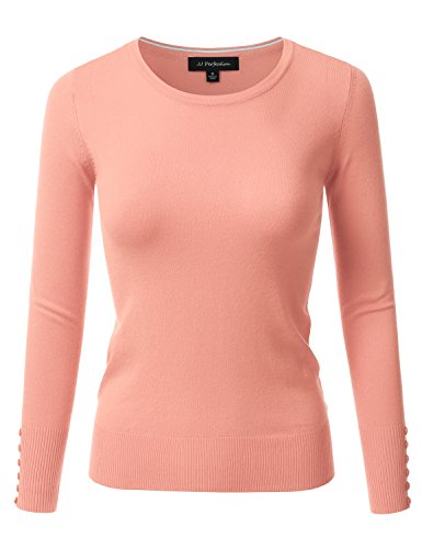 JJ Perfection Women's Stretch Crew Neck Long Sleeve Shirt w/Button Design Pink L